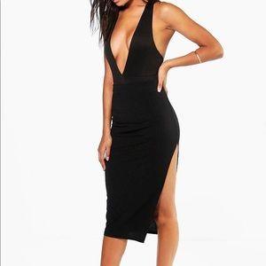 BooHoo Ribbed Midi Skirt with Side slit